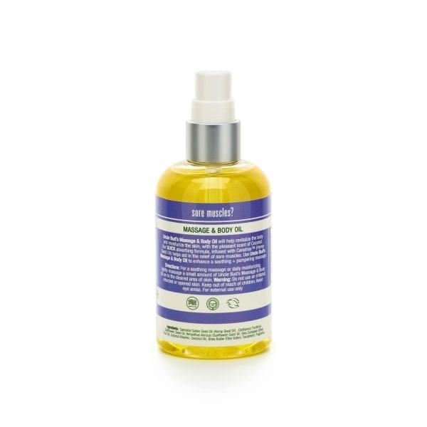 Uncle Bud's Hemp Massage & Body Oil back