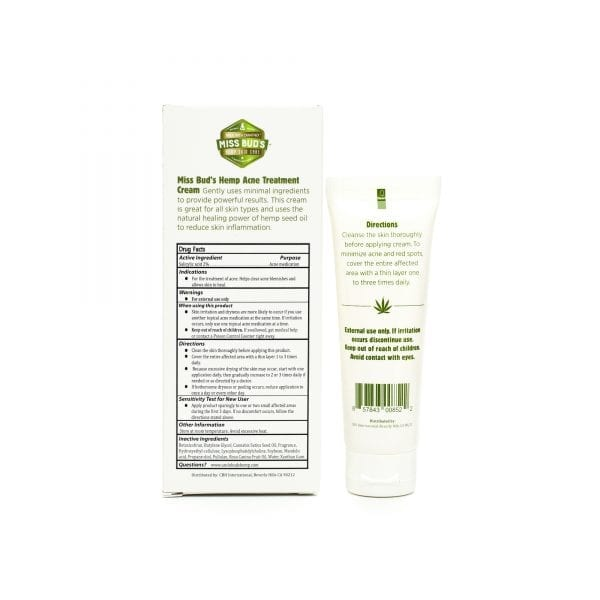 Miss Bud's Hemp Acne Treatment Cream back