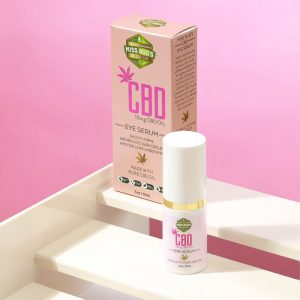 A bottle of 15 mg CBD eye cream with the box behind it.