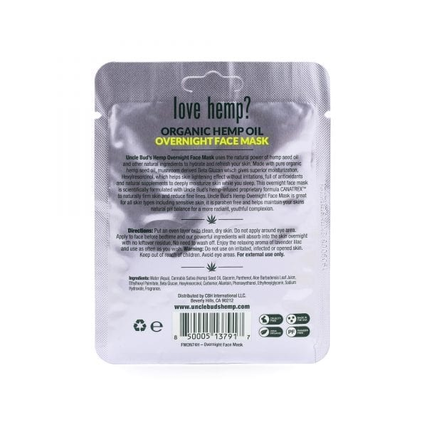 Uncle Bud's Hemp Overnight Face Mask back