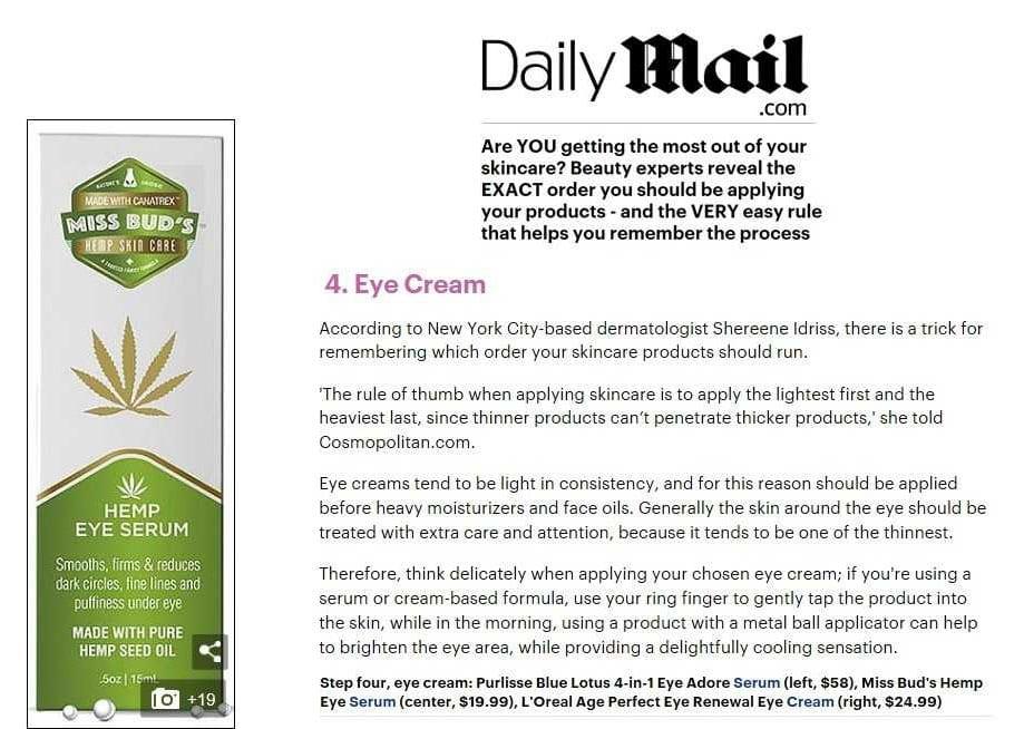 Daily Mail Miss Bud's Hemp Eye Serum