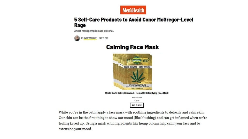 Men's Health 5 self-care products Uncle Bud's Calming Face Mask