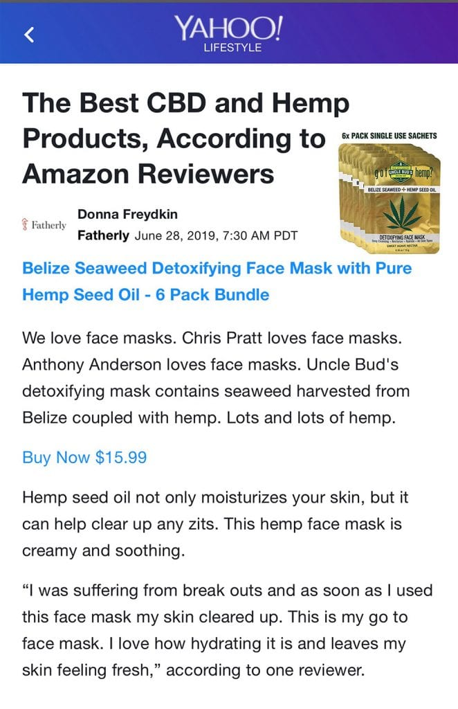 YAHOO! Best CBD and Hemp Products according to Amazon Reviewers Uncle Bud's hemp face mask