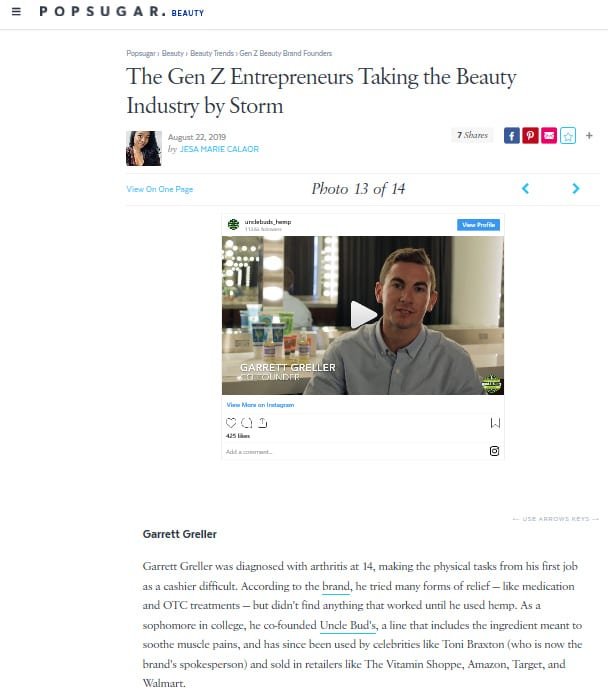 PopSugar Gen Z Entrepreneurs Uncle Bud's Hemp