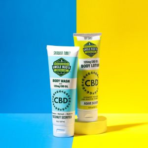 One bottle of 120mg CBD body wash and one bottle of 120mg CBD body lotion.